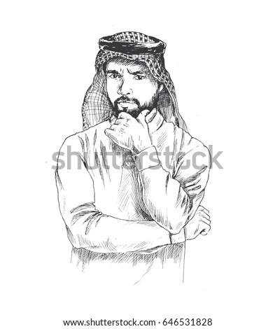 Arab Man Thinking Hand Drawn Sketch Stock Vector 646531828