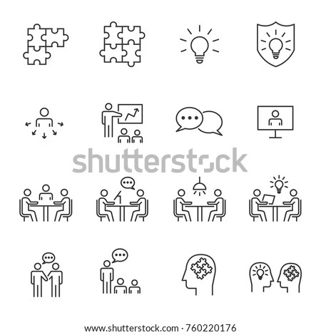 Thin Line Icons Set Icons Business Stock Vector 291638834