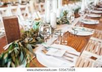 Rustic Wedding Decor Wedding Table Setting Stock Photo ...