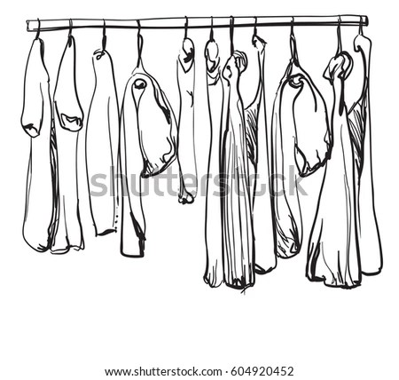 Hand Drawn Clothes On The Hangers Stock Vector