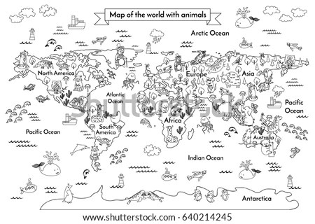 Coloring Book Map World Globe Animals Stock Vector
