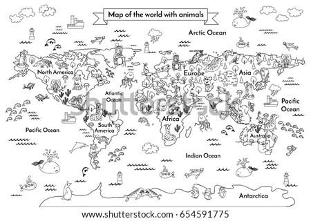 Coloring Book Map World Cartoon Globe Stock Illustration