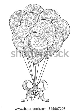 Group Balloons On String Coloring Book Stock Vector