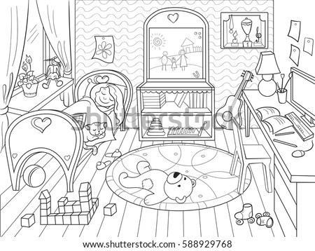 Kids Coloring On Theme Childhood Room Stock Vector