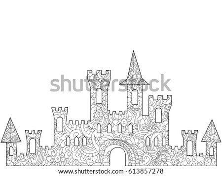 Old Castle Coloring Book Adults Vector Stock Vector
