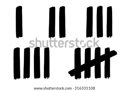 One Five Counting Tally Strokes Stock Illustration