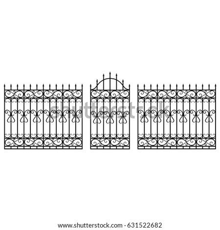 Victorian Wrought Iron Fence Gates Vector Stock Vector