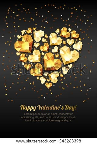 Happy Valentines Day Vector Greeting Card Stock Vector