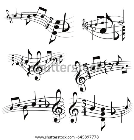 Curly Musical Scores Notes G Clef Vector Stock Vector