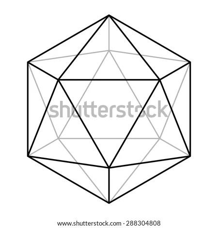 Icosahedron Line Drawing Sacred Geometry Platonic Stock