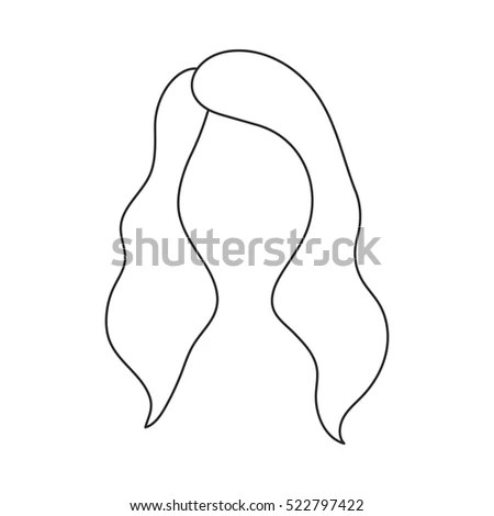 Womans Hairstyle Icon Outline Style Isolated Stock