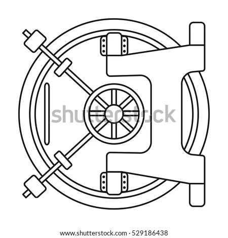 Bank Vault Icon Outline Style Isolated Stock Vector