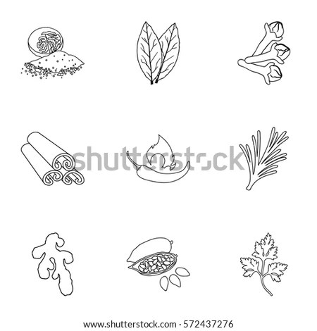 Nutmeg Vector Icons Stock Images, Royalty-Free Images