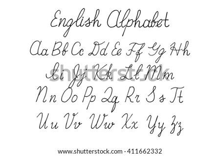 Brush Script Lowercase Uppercase Letters Keystrokes Stock