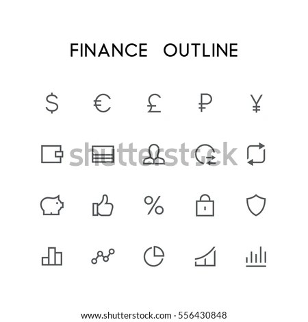Finance Outline Icon Set Dollar Euro Stock Vector