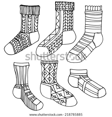Set Socks Ornament Stylized Socks Different Stock Vector