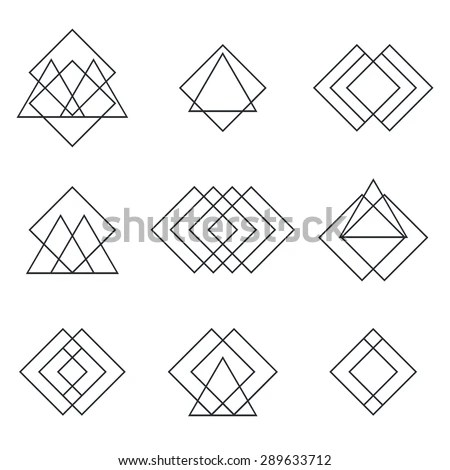 Set Geometric Shapes Triangles Lines Your Stock Vector