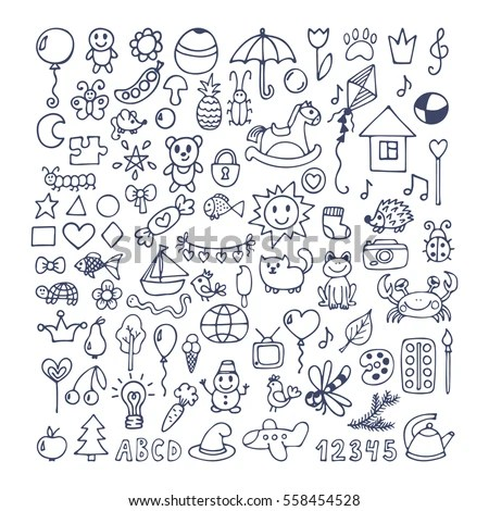 Collection Hand Drawn Cute Doodles Doodle Stock Vector