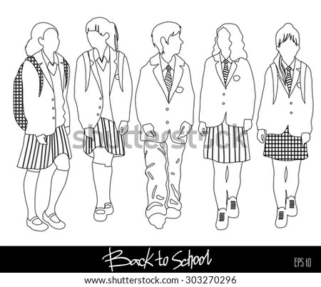 Group Vector Students High Elementary School Stock Vector