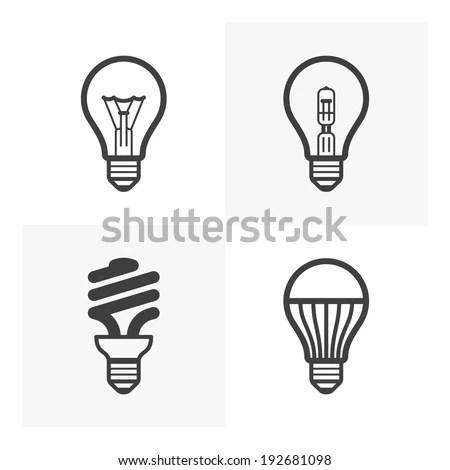 Various Light Bulb Icons Standard Halogen Stock Vector