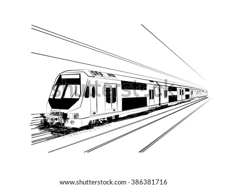 Metro Train Vector Sketch Black Lines Stock Vector