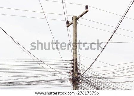 Old Telephone Pole And Wires Workers Telephone Poles And