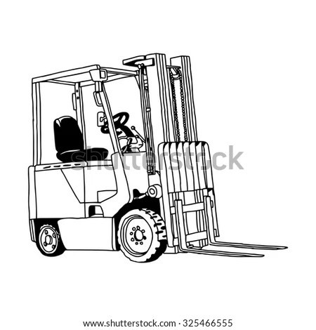 Illustration Vector Hand Drawn Doodle Forklift Stock