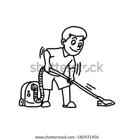 Man Mowing Lawn Retro Clip Art Stock Vector 59154511