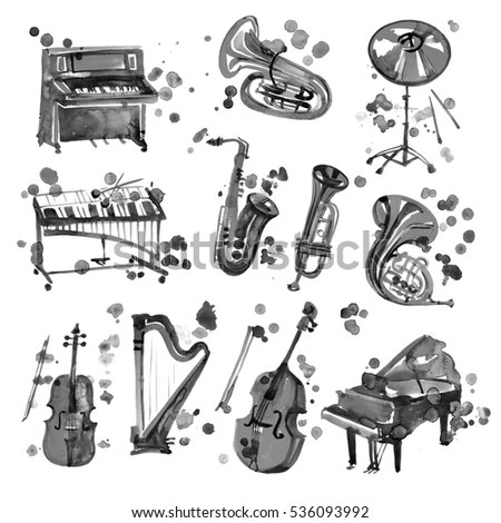 Cute Watercolor Black Musical Instruments Including Stock