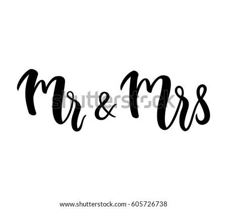 Mr Mrs Mr Mrs Lettering Design Stock Vector 605726738