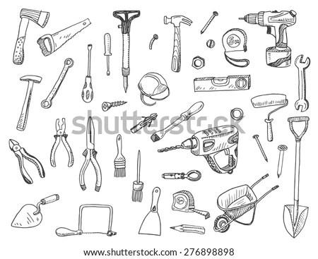 Hand Drawn Vector Illustration Set Construction Stock