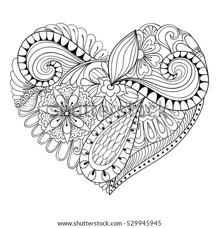 Artistic Floral Doodle Heart Zentangle Style Stock Vector