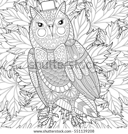 Zentangle Owl Painting Adult Anti Stress Stock Vector