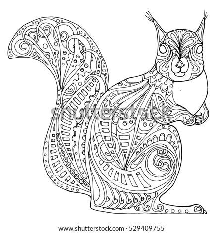 Zentangle Squirrel Doodle Vector Design Adult Stock Vector