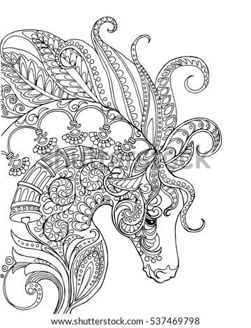 Elegant Zentangle Patterned Horse Portrait Doodle Stock