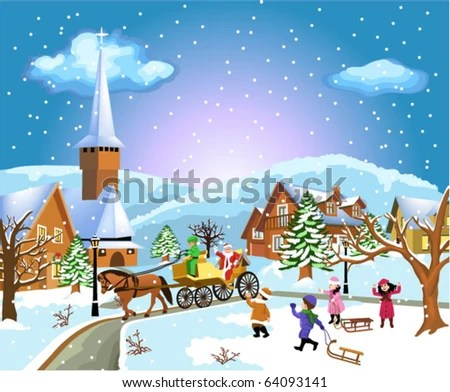 Vector Illustration Cute Kids Playing Winter Stock Vector
