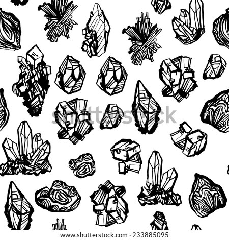 Black White Crystals Minerals Rocks Hand Stock Vector