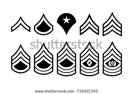 Military Ranks Stripes Chevrons Vector Set Stock Vector