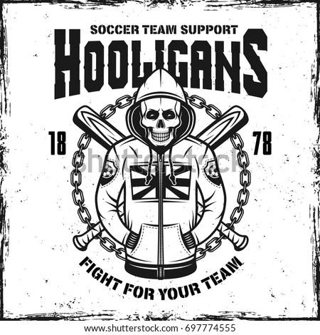 Hooligan Skull Hoodie Vintage Print Two Stock Vector