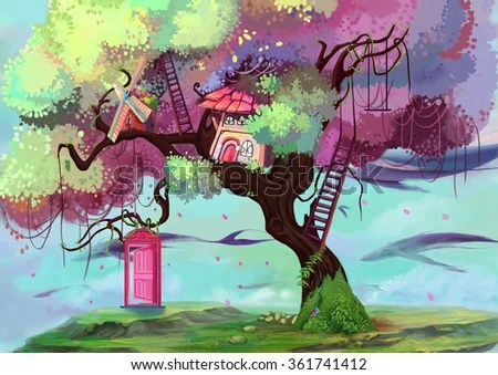 Cute Cartoon Elephant Wallpaper Whimsical Tree Stock Images Royalty Free Images Amp Vectors