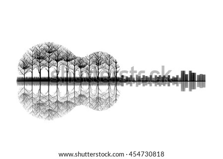 City Trees Shape Guitar Sketch Artwork Stock Illustration