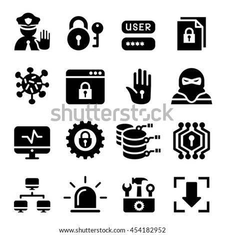 Cyber Virus Hacking Protection Security Icons Stock Vector