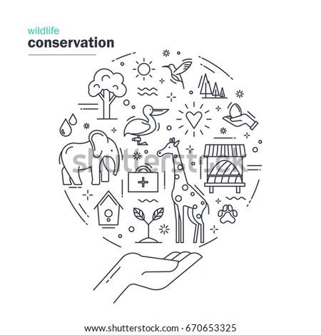 Wildlife Conservation Modern Thin Line Design Stock Vector