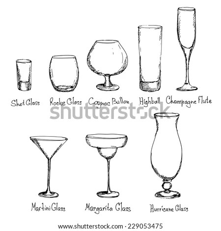 Hand Drawn Different Kinds Glasses Vector Stock Vector