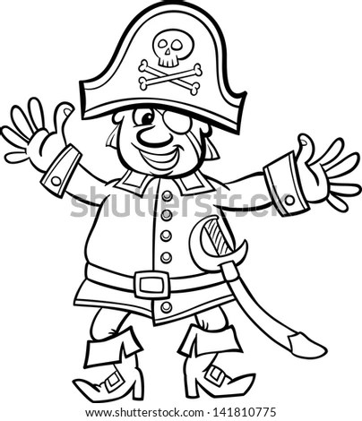 Black White Cartoon Illustration Funny Pirate Stock