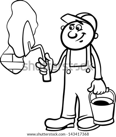 Black White Cartoon Illustration Man Worker Stock