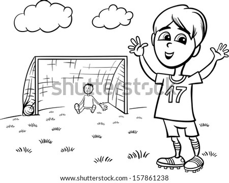 Black White Cartoon Illustration Cute Boy Stock