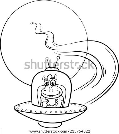 Black and White Cartoon Vector Illustration of Funny Alien