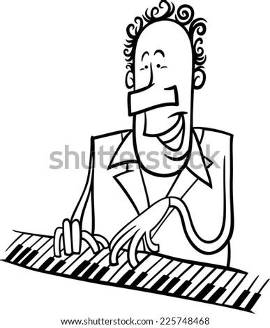 Black White Cartoon Illustration Pianist Jazz Stock