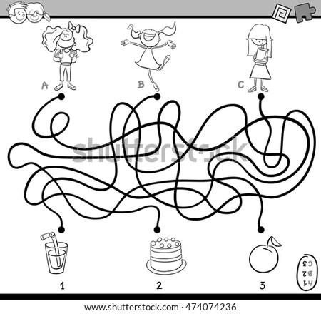 Cartoon Illustration Educational Paths Maze Puzzle Stock